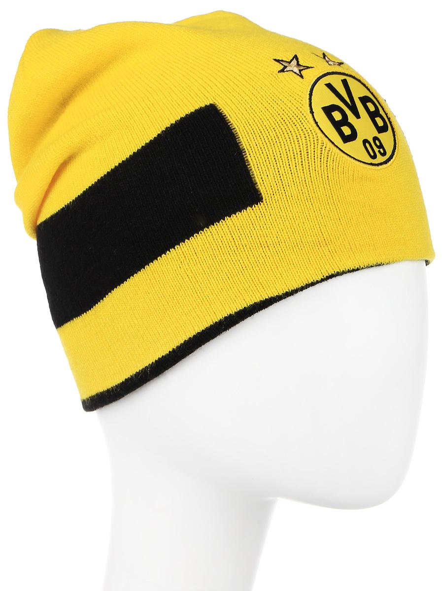 Шапка021037_01Вязаная двухсторонняя шапка дарит комфорт и благодаря эластичному материалу - 100% акрил - и плотной вязке в резинку отличается особым удобством и идеальной посадкой. В этой шапке от Puma с эмблемой футбольного клуба Боруссия – Дортмунд вы не только не останетесь незамеченным, но и сможете поддержать любимую команду.
