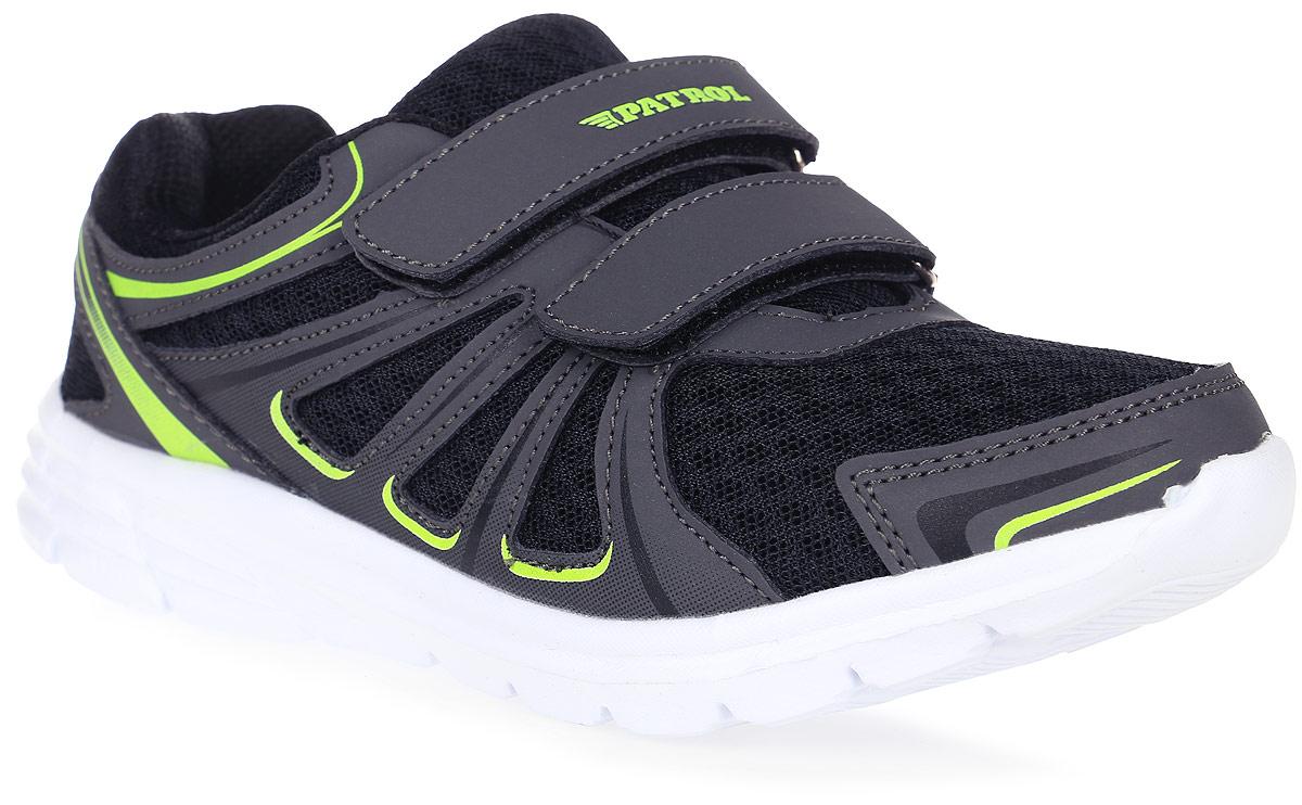 Кроссовки963-802T-17s-8/01-5Стильные кроссовки от Patrol - отличный выбор для вашего мальчика на каждый день. Верх модели выполнен из искусственной кожи и сетчатого текстиля, обеспечивающего вентиляцию. Ремешки с застежками-липучками на подъеме обеспечивают надежную фиксацию обуви на ноге. Подкладка и стелька из текстильного материала создают комфорт при носке. Подошва выполнена из легкого пенопропилена. Рифление на подошве обеспечивает отличное сцепление с любой поверхностью. Модные и комфортные кроссовки - необходимая вещь в гардеробе каждого ребенка.