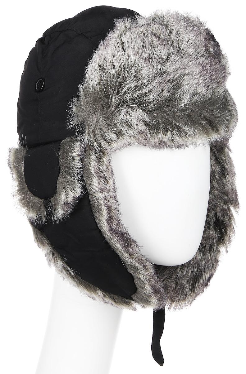 Шапка2814GЖенская шапка ушанка. Материал: полиэстер, подкладка - искусственный мех. Застежка - карабин. Вентиляция в зоне ушей. Теплая модель.