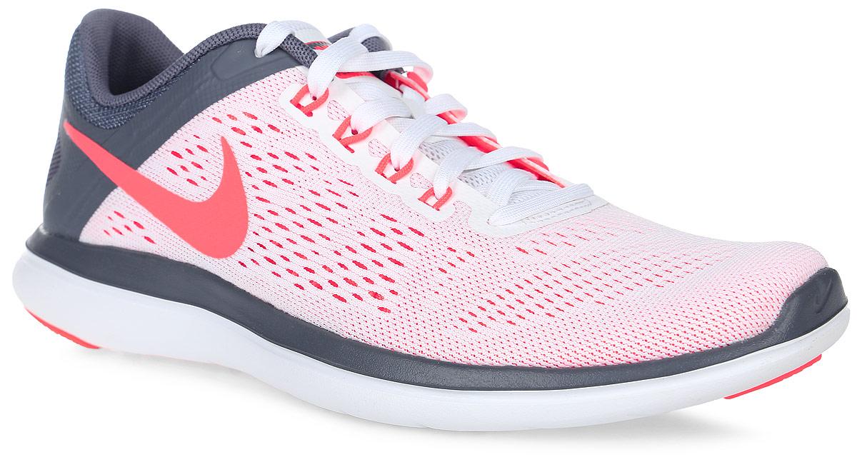 Кроссовки830751-101Кроссовки Nike Flex 2016 RN из сетчатого текстиля с полимерным покрытием. Технология Flex гарантирует оптимальную амортизацию. Шнуровка на подъеме, съемная стелька.