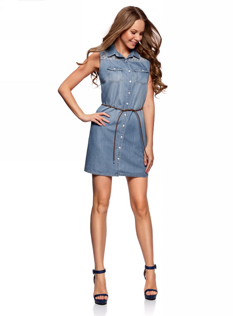 Платье12909056/46790/7000WПлатье джинсовое с орнаментом
