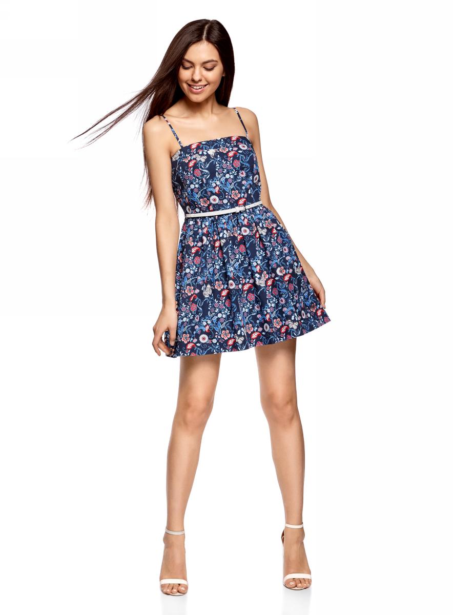 Платье11902101-6/14912/1275FСарафан принтованный с контрастным ремнем