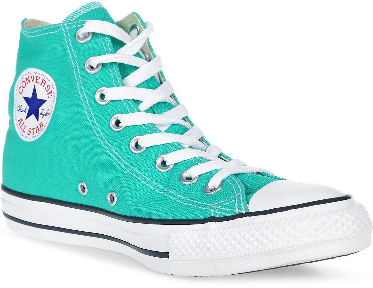 Кеды155740Высокие женские кеды Chuck Taylor All Star от Converse созданы для тех, кто предпочитает оригинальный дизайн и непревзойденное качество. Кеды выполнены из плотного текстиля и оформлены контрастной прострочкой и фирменным логотипом со звездой. Мыс защищен резиновой накладкой. Сбоку предусмотрены отверстия с люверсами для вентиляции. Классическая шнуровка надежно фиксирует обувь на ноге. Стелька и подкладка из мягкого текстиля комфортны при ходьбе. Подошва исполнена из износостойкой резины контрастного цвета. Рифление на подошве обеспечивает идеальное сцепление с любыми поверхностями. Эффектные кеды помогут вам создать яркий, динамичный образ.