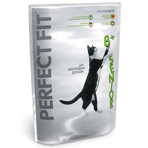"""Корм сухой """"Perfect Fit"""" для кошек старше 8 лет, с курицей"""