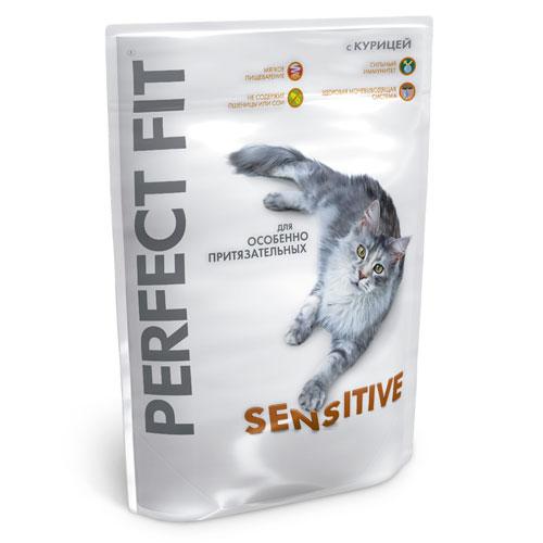 """Корм сухой """"Perfect Fit"""" для кошек с чувствительным пищеварением, с курицей"""