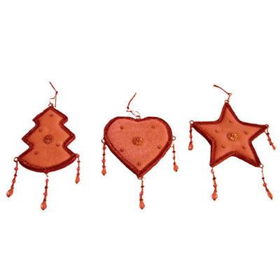 """Набор новогодних подвесных украшений """"Елочные украшения"""", цвет: оранжевый"""