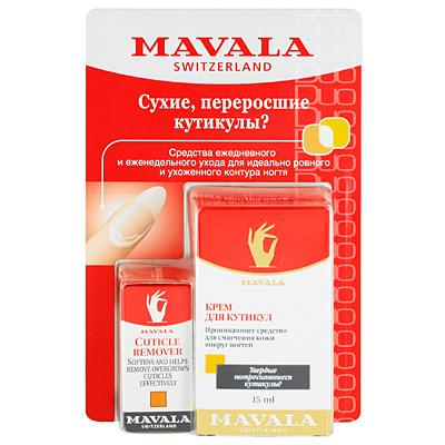 Набор Mavala для ухода за кутикулой. Крем для смягчения кутикулы и средство для удаления заусениц