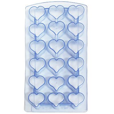 """Форма для льда """"Сердце"""", цвет: голубой 18 ячеек"""