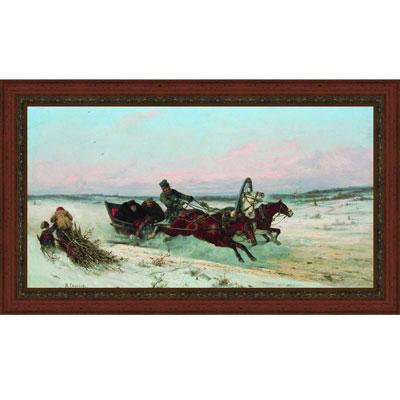 Тройка зимой (Н.Е. Сверчков), с темной рамкой, 23 x 40 см