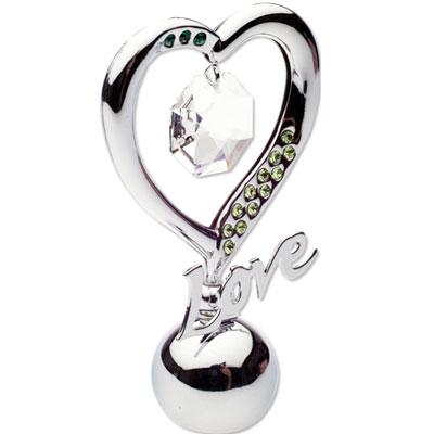 """Держатель для визиток """"Элегантное сердце"""", цвет: серебристый, 7 см"""