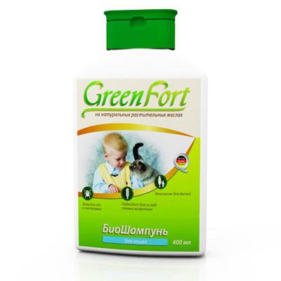 """БиоШампунь """"Green Fort"""" от блох и клещей, для кошек, 400мл"""