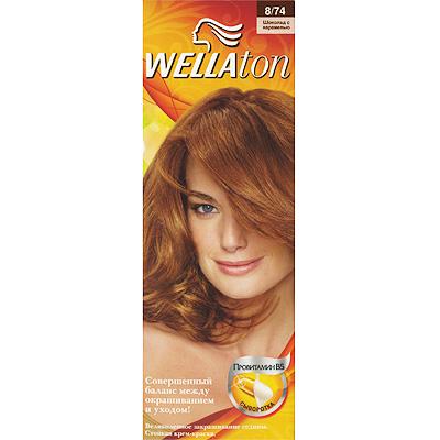 Крем-краска для волос Wellaton 8/74. Шоколад с карамелью
