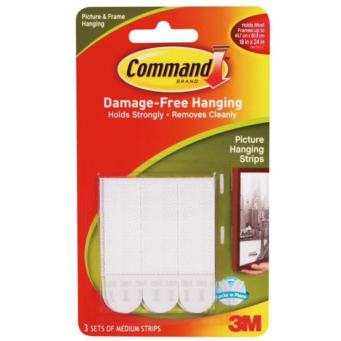 """Легкоудаляемые клейкие застежки """"Command"""" для картин, средние, цвет: белый, 3 шт"""