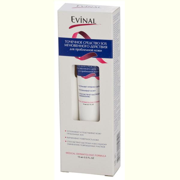 Точечное средство SOS Evinal мгновенного действия, для проблемной кожи, 15 мл