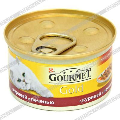 """Консервы для кошек Gourmet """"Gold"""", с курицей и печенью, 85 г ( 12130919 )"""