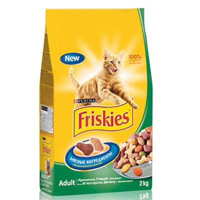"""Корм сухой для кошек """"Friskies"""", с кроликом и полезными овощами, 2 кг ( 12053625 )"""