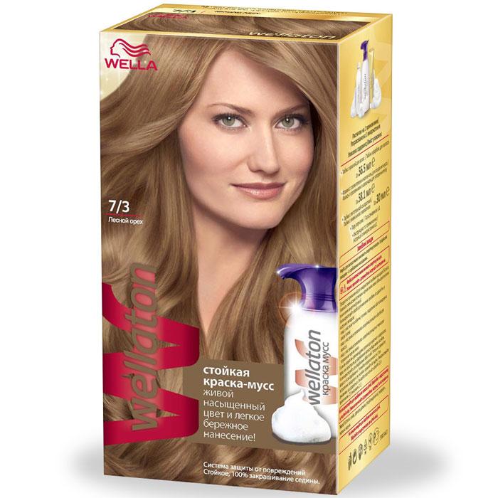 Краска-мусс для волос Wellaton 7/3. Лесной орех