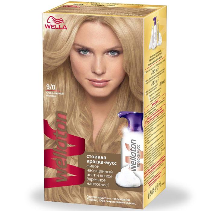 Краска-мусс для волос Wellaton 9/0. Очень светлый блондин