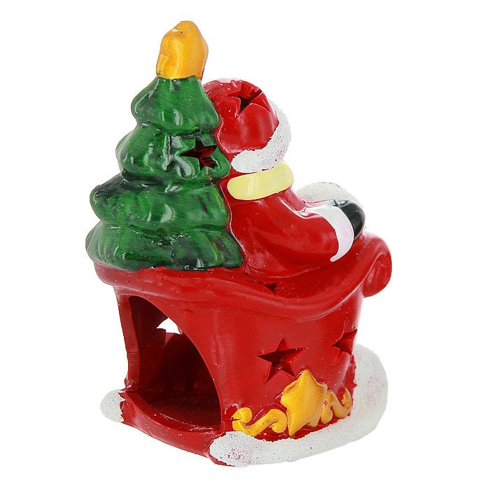"""Новогодний подсвечник """"Снеговик в санях"""", цвет: красный, белый"""