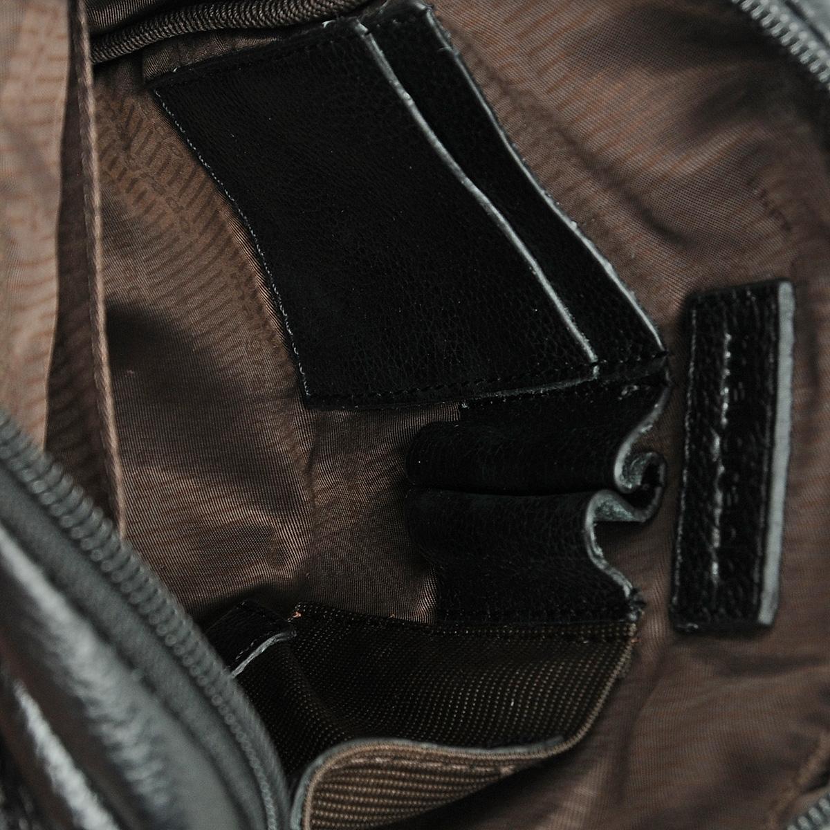 """Сумка мужская """"Malgrado"""", цвет: черный. BR11-489 ( BR11-489 black Сумка мужская, нат. кожа )"""