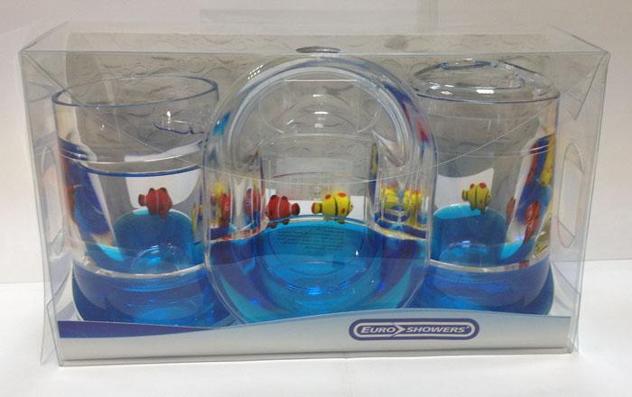 """Набор гелевых аксессуаров для ванной комнаты """"Рыбки"""", цвет: синий, 3 предмета ( 000-31 )"""