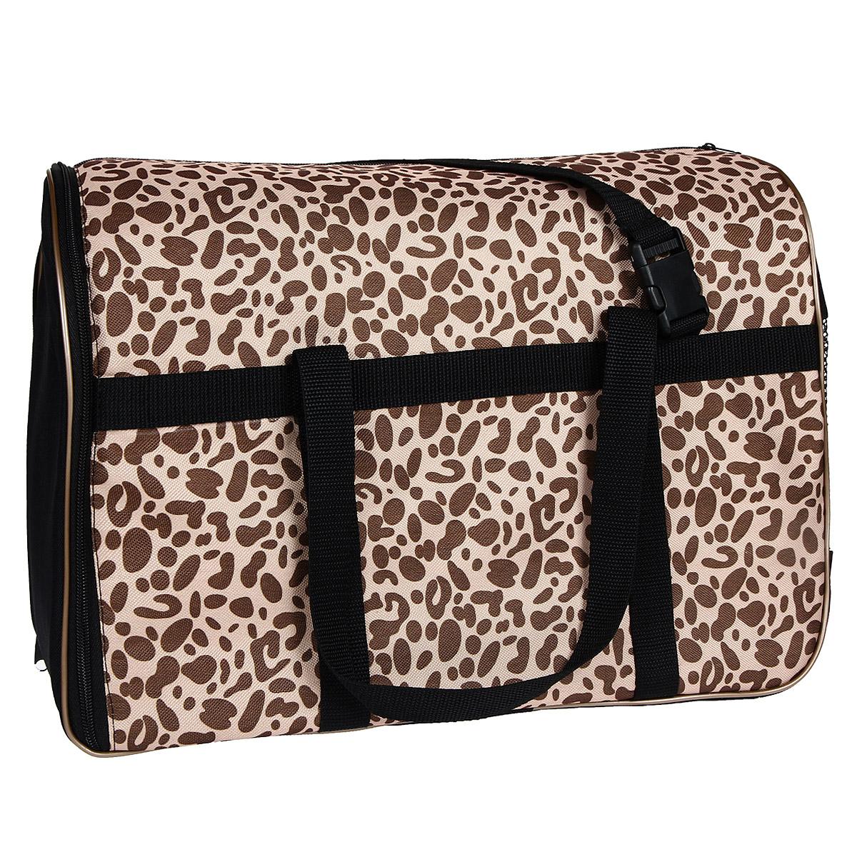 """Сумка-переноска """"Гамма"""" для животных, с сеткой, цвет: леопардовый, 42 см х 28 см х 31 см"""