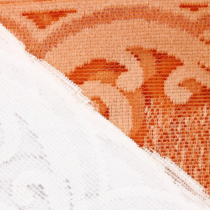 """Комплект штор для кухни """"Zlata Korunka"""", на ленте, цвет: белый, оранжевый, высота 170 см. 587682 ( 587682 )"""