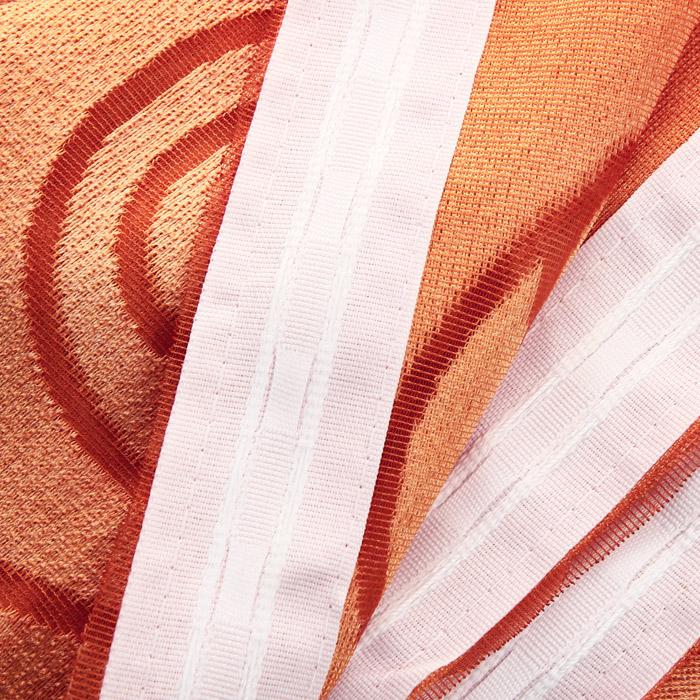 """Комплект штор для кухни """"Haft"""", на ленте, цвет: белый, оранжевый, высота 170 см ( 489511 )"""
