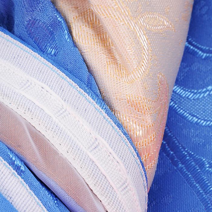 """Комплект штор """"Zlata Korunka"""", на ленте, цвет: голубой, высота 250 см"""