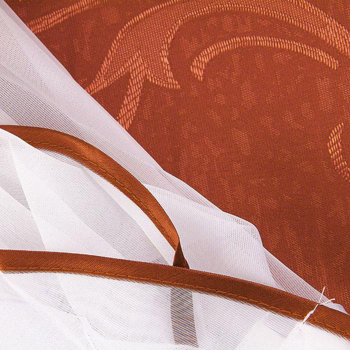 """Комплект штор """"Zlata Korunka"""", на ленте, цвет: терракотовый, высота 250 см ( Б063 )"""