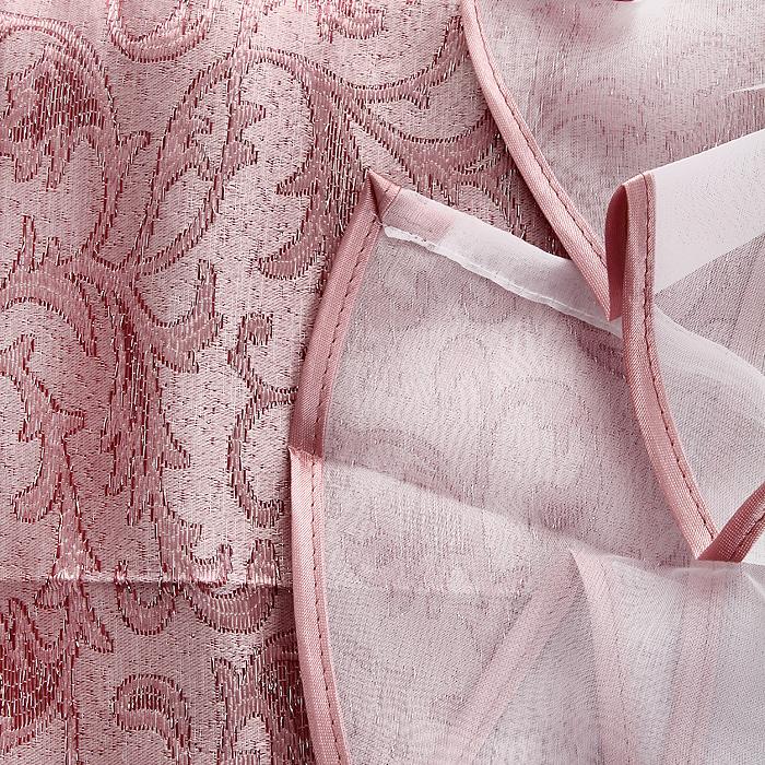 """Комплект штор """"Zlata Korunka"""", на ленте, цвет: розовый, высота 250 см"""