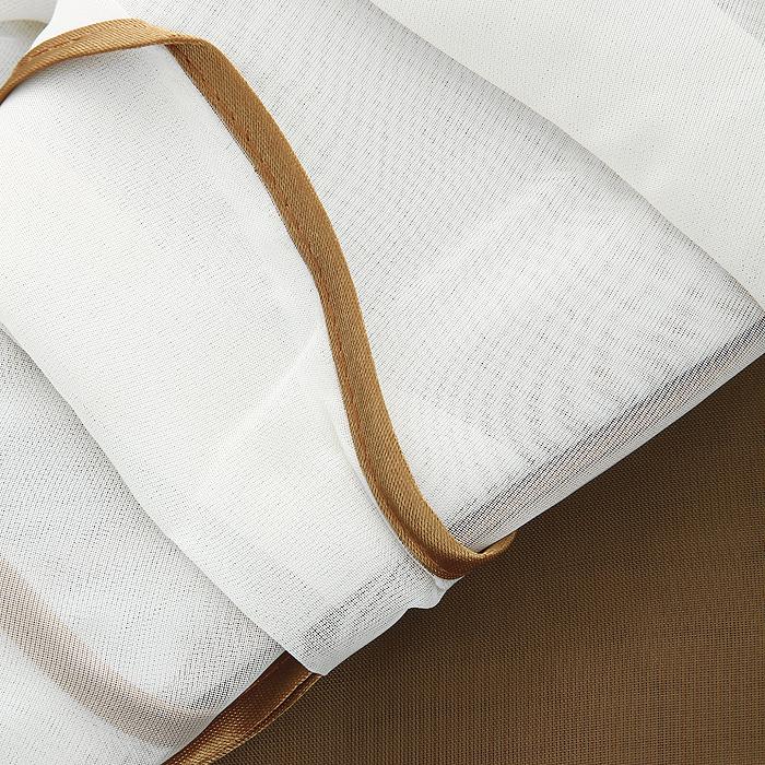"""Комплект штор """"Фавила"""", на ленте, цвет: коричневый, белый, высота 250 см ( Б0520 )"""