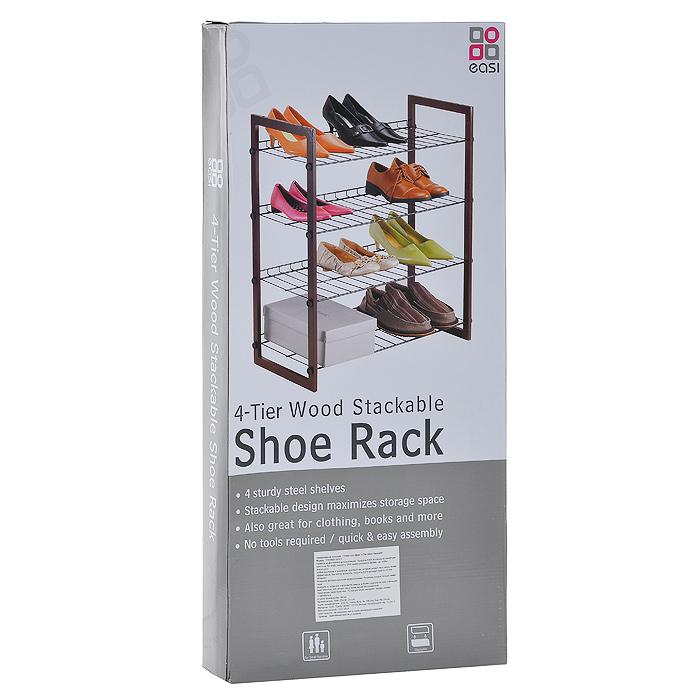 """Полка для обуви """"4-Tier Wood Stackable"""", 4-яруса"""