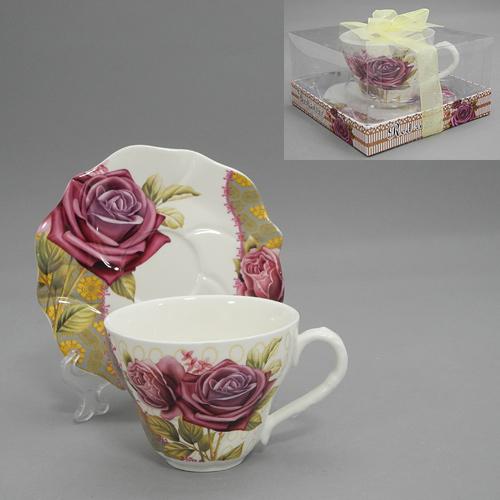 """Набор чайный """"Розы на орнаменте"""", 2 предмета"""