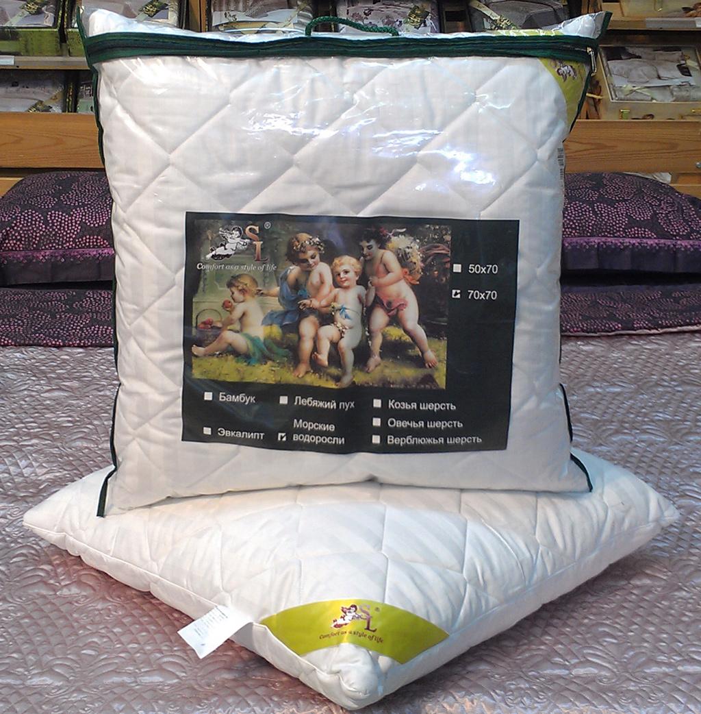 """Подушка """"SL"""", цвет: белый, наполнитель: эвкалиптовое волокно, 70 х 70 см. 20013"""