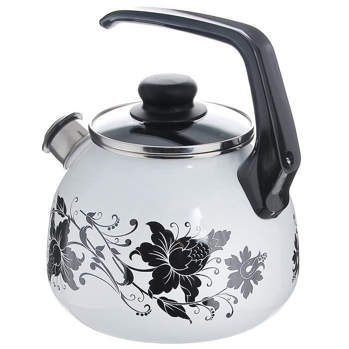 """Чайник """"Tango"""" со свистком, цвет: белый, черный, 3 л"""