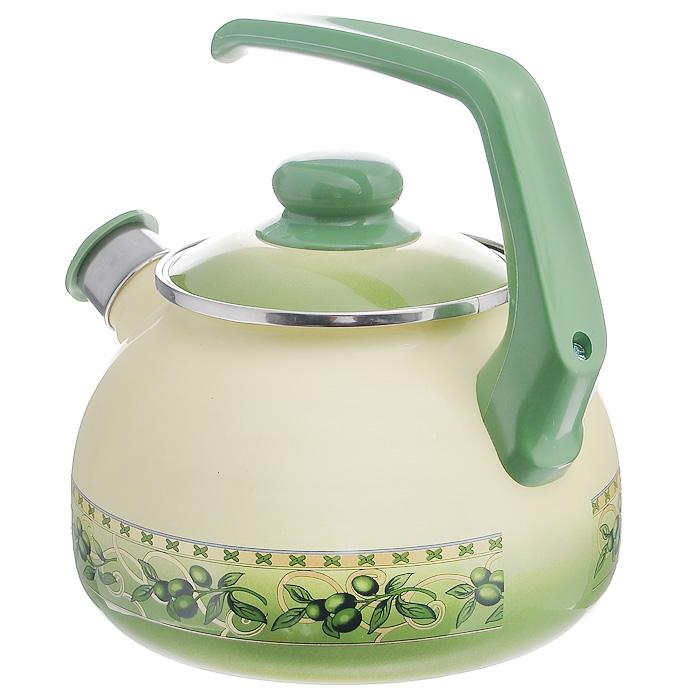 """Чайник """"Оливки"""" со свистком, цвет: бежевый, оливковый, 2,5 л"""