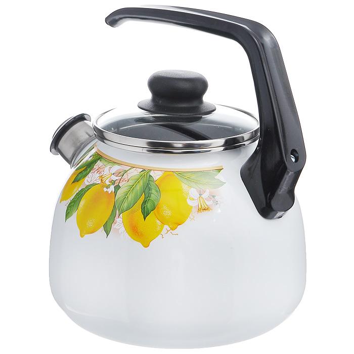 "Чайник ""Limon"" со свистком, цвет: белый, 3 л"