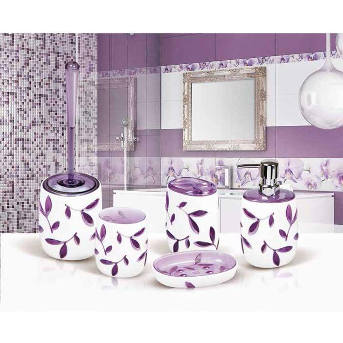 """Гарнитур для туалета Tatkraft """"Immanuel Olive Violet"""", цвет: белый, фиолетовый"""