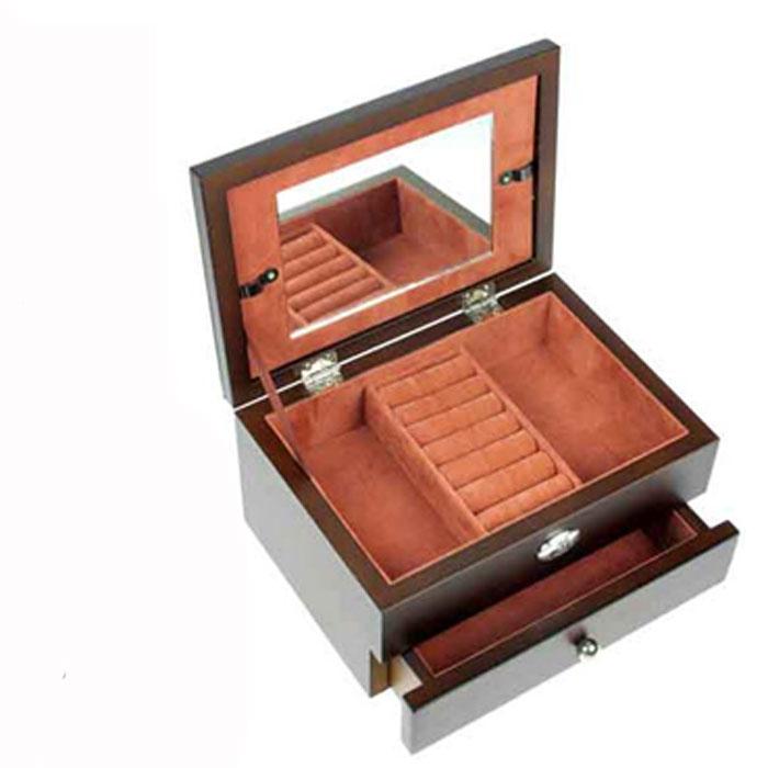 "Шкатулка ювелирная 2-х ярусная ""Moretto"", цвет: коричневый, 18 см х 13 см х 10 см. 39731"