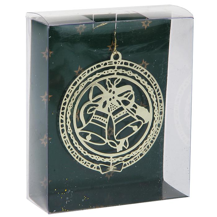 """Новогоднее подвесное украшение """"Колокольчики"""", цвет: золотистый. 31633"""