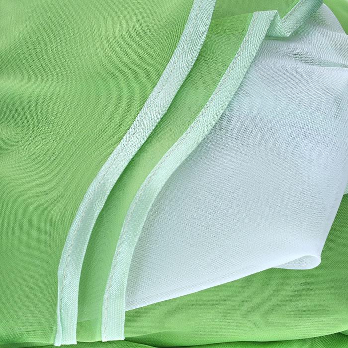 """Комплект штор """"Zlata Korunka"""", на ленте, цвет: салатовый, белый, высота 250 см. Б067"""