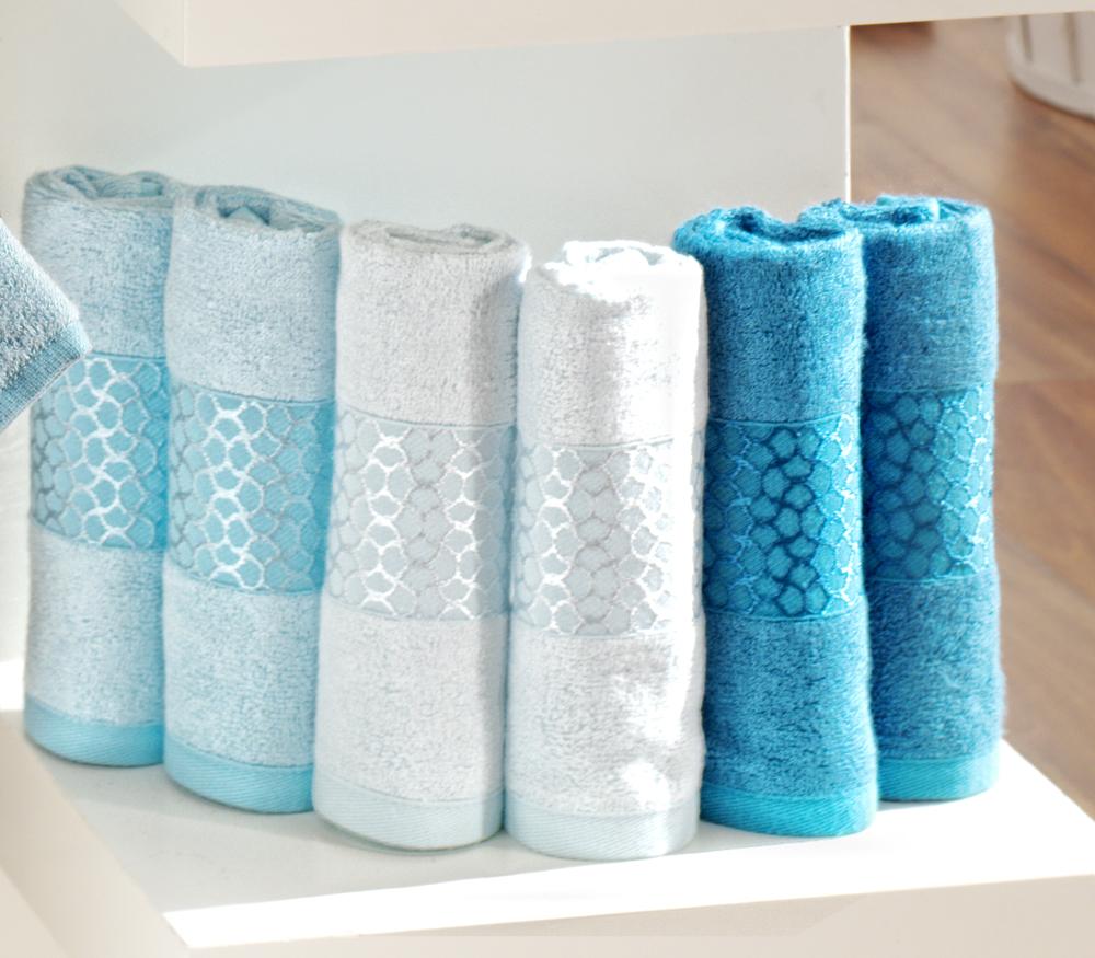 """Набор лицевых полотенец """"Aqua Marin"""", цвет: оттенки голубого, 30 см х 50 см, 6 шт"""