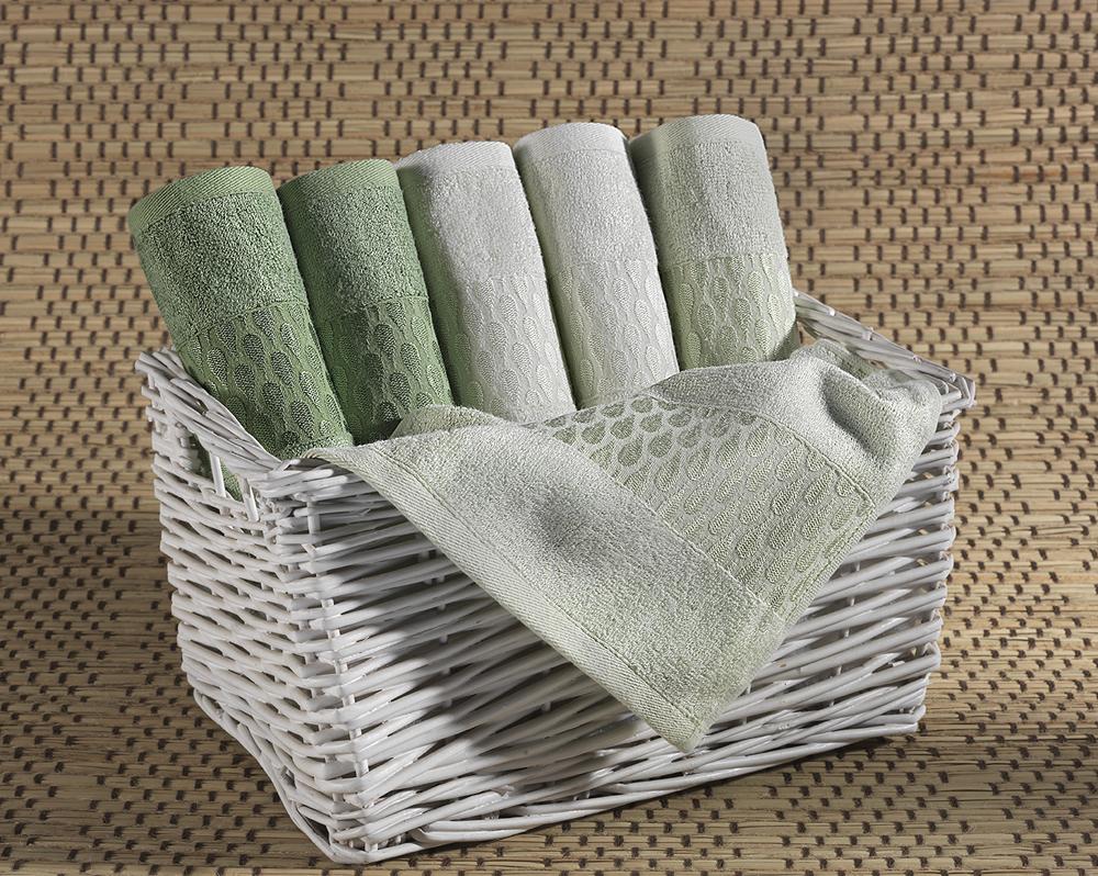 """Набор лицевых полотенец """"Carla"""", цвет: оттенки зеленого, 30 см х 50 см, 6 шт"""