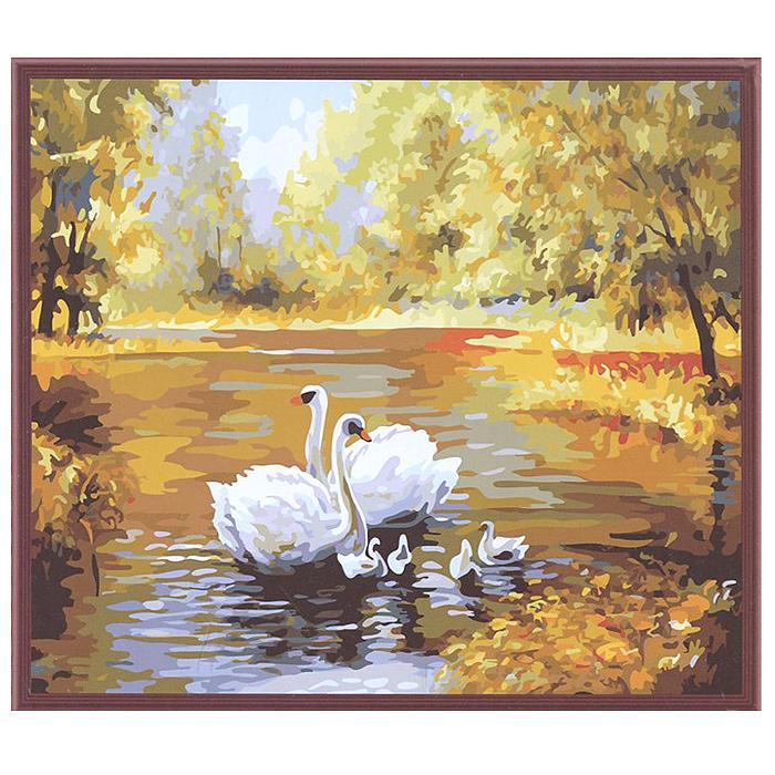"""Живопись на холсте """"Лебеди в пруду"""", 40 х 50 см ( 312-CG Лебеди в пруду )"""