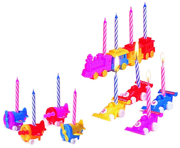 Свечи для торта Fackelmann Rio, с 4 подставками в виде машинок, 6 шт52531Свечи для торта Fackelmann Rio выполнены из стеарина синего и розового цвета. Такие свечи предназначены для украшения торта, полностью сгорают за 10 минут. В комплекте - 4 подставки для свечей, изготовленных из пластика в виде паровозика. Вставив такие свечи не просто в праздничный торт, а поместив их на подставки, вы доставите яркие эмоции и радость маленькому имениннику.