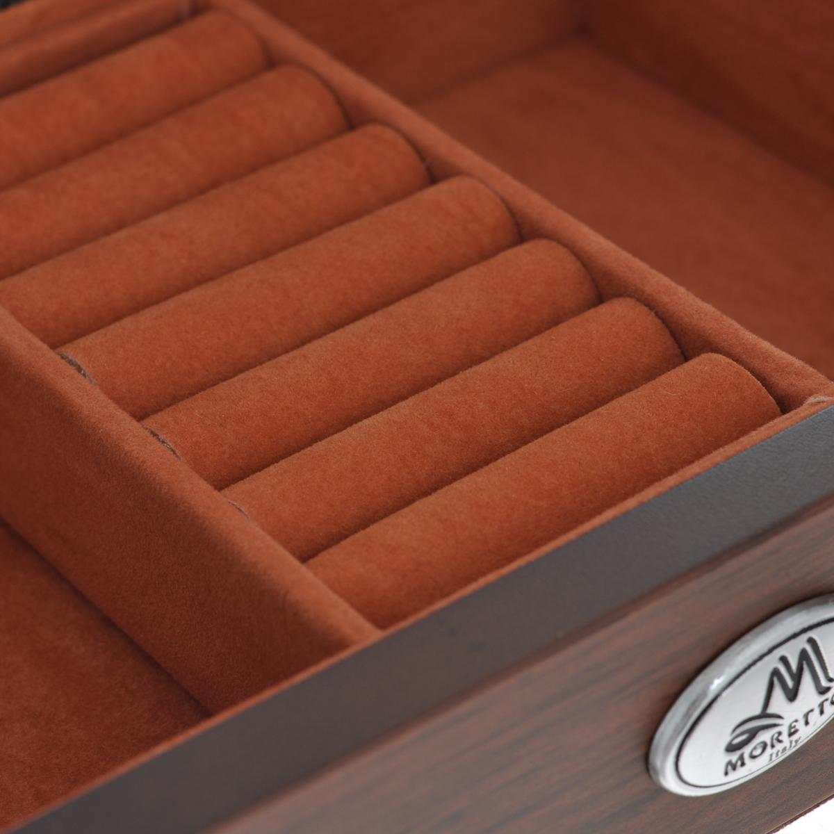 """Шкатулка ювелирная """"Moretto"""", цвет: коричневый, 17,5 см х 12,5 см х 5 см"""