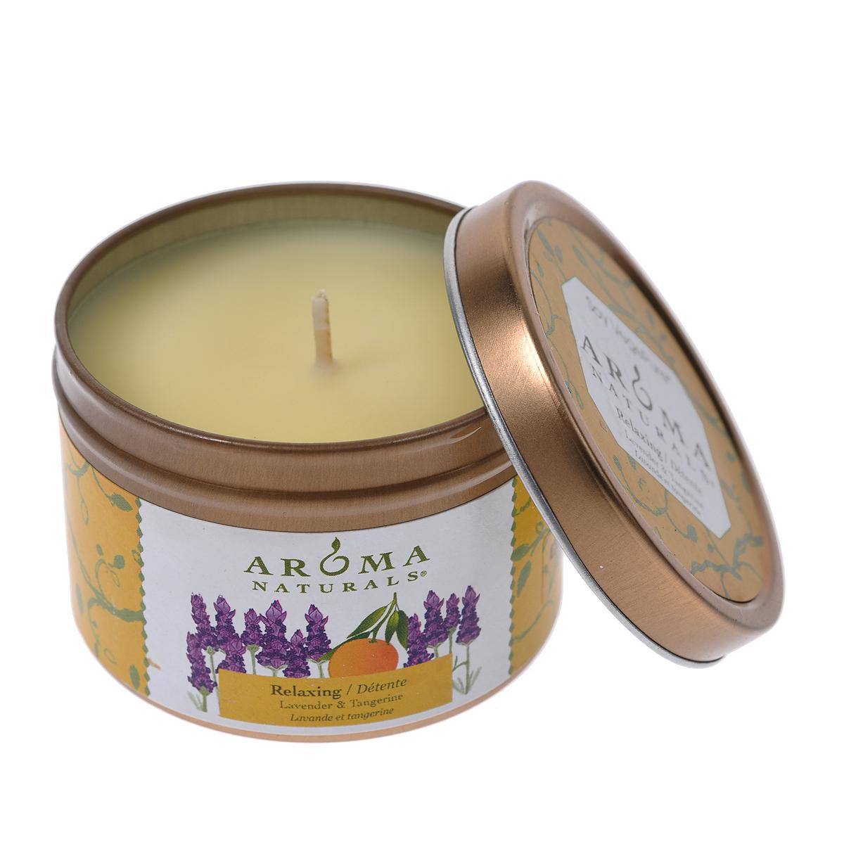 """Aroma Naturals Соевая свеча """"Релакс"""", с маслом лаванды, мандарина и апельсина, 80 г"""