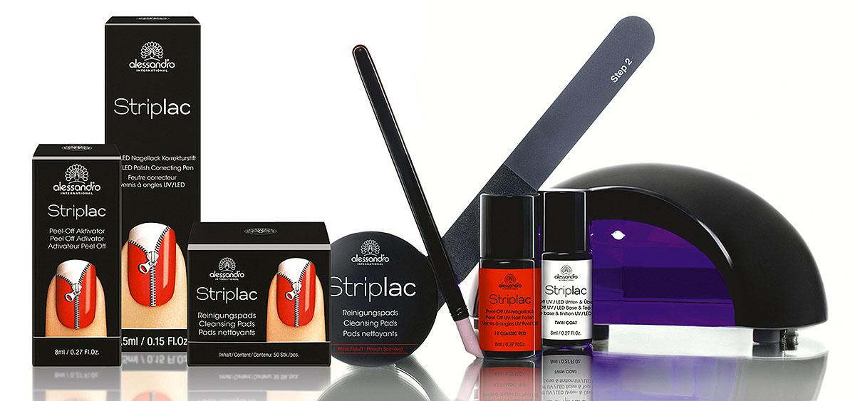 Alessandro Набор Striplac Kit: LED-лампа, базовое покрытие, 8 мл, гель-лак, 8 мл, очищающие салфетки, 50 шт, пилка для ногтей, пушер для кутикул. 78-400