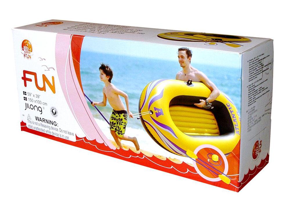 """Лодка надувная Jilong """"Atlantic Boat 100 Set"""", с веслами и насосом, цвет: желтый, 150 см х 100 см"""
